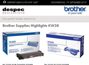 Brother Supplies Highlights KW38