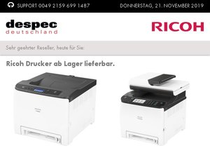 Ricoh Drucker ab Lager lieferbar.
