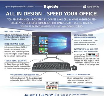 WIRELESS ALL-IN DESIGN - SPEED YOUR OFFICE! Aquado ALL-IN 24 V2 i5: Powered by Coffee Lake CPU und NVMe Hightech SSD. Inklusive Windows 10 Pro 64 Bit!