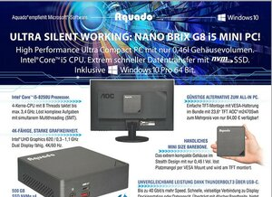 Ultra Silent Working: Aquado Nano BRIX G8 i5 – Business Ultra Compact PC der Halbliterklasse mit 500 GB SSD NVMe und Windows 10 Pro!