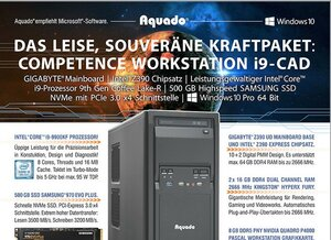 Das Kraftpaket - Aquado Silent Workstation i9-CAD: 8 GB CAD-Grafikkarte | 500 GB NVMe SSD |  Windows 10 Pro.
