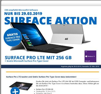 Microsoft Surface Aktion mit Gratis Surface Pro Type Cover