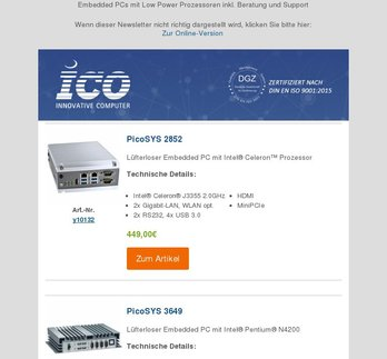 Embedded PCs mit Low Power Prozessoren